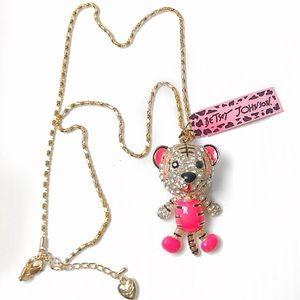 Betsey Johnson pink tiger pendant jewel necklace